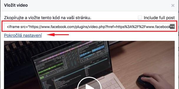 Jak vložit do článku video ze sítě Facebook.