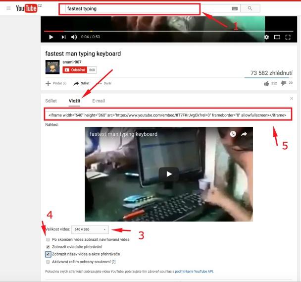 Jak vložit do článku video z YouTube (i cizí).