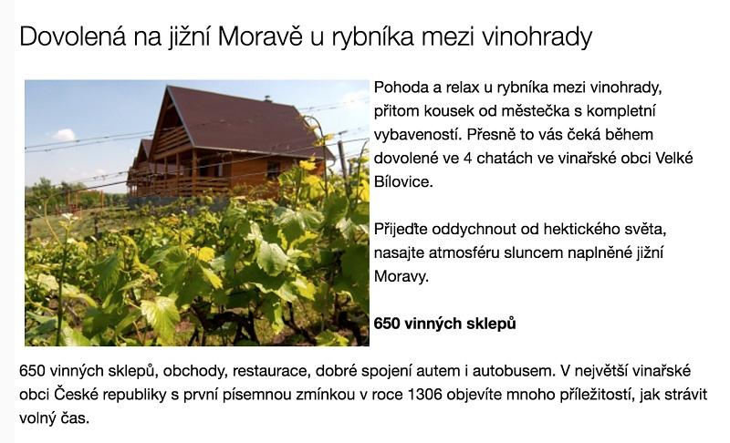 Texty pro web Chaty Velké Bílovice.