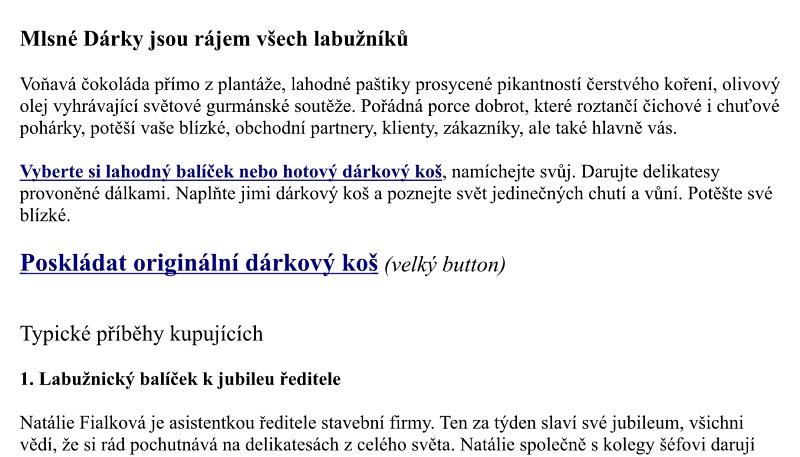 Texty pro e-shop Mlsné dárky.