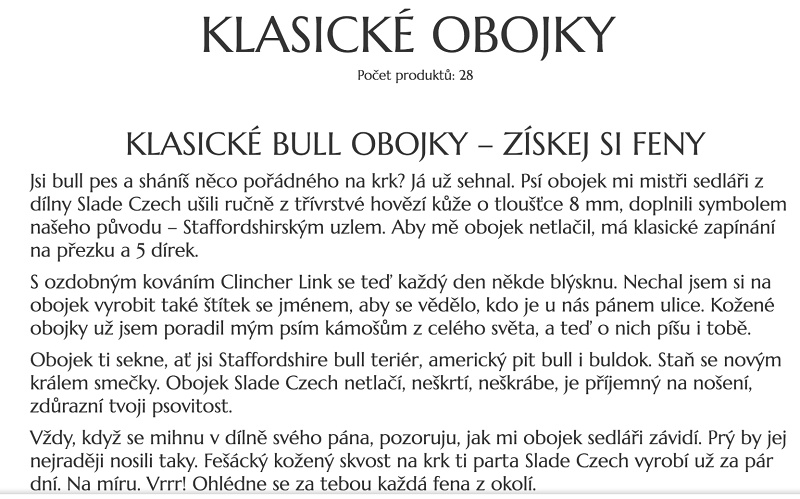 Texty pro e-shop Sladeczech.