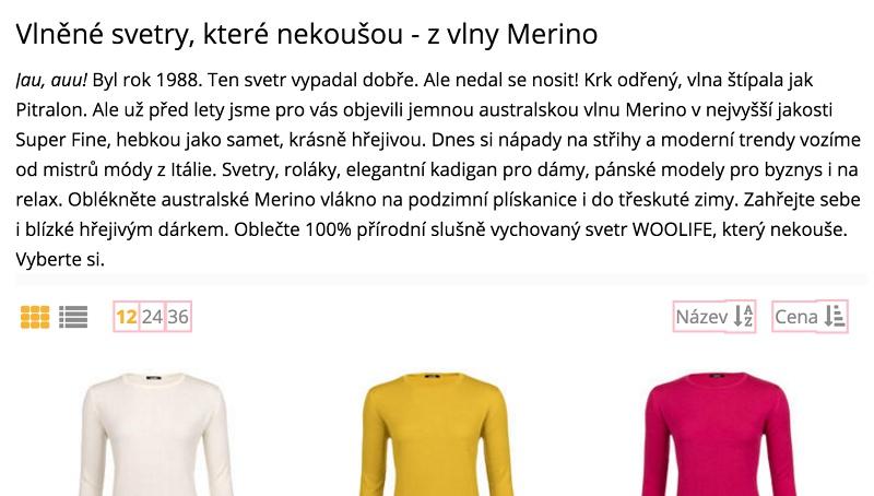 Texty pro e-shop Woolife.